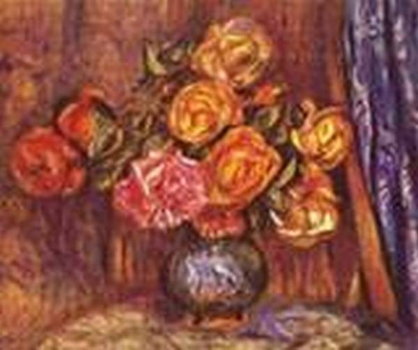 Roses before the blue curtain 1912 xx private collection
